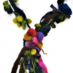 Collier sautoir en laine vierge de Patagonie BLEU VERT