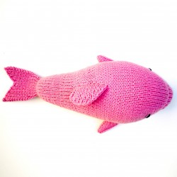 Dauphin rose tricoté main en coton Tanguis