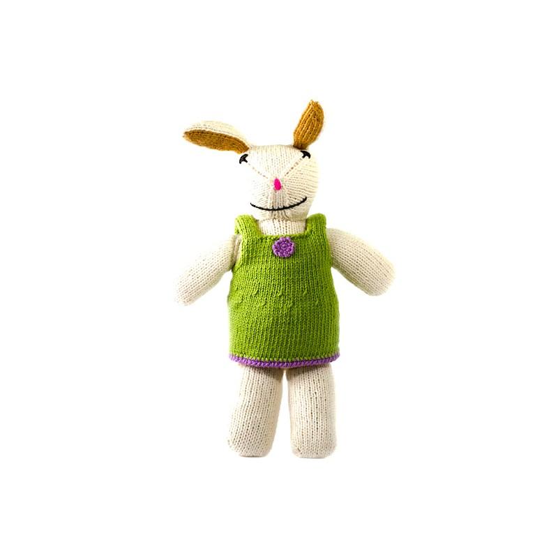 Lapin fille tricotée main en coton organique