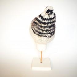 BONNET en laine vierge de Chiloé noir et blanc