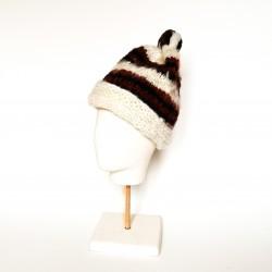 BONNET en laine vierge de Chiloé marron, noir et blanc