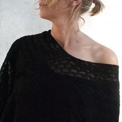 Poncho femme en dentelle de baby alpaga HUARAZ noir