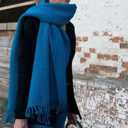Echarpe tissée en laine vierge de Patagonie TURQUOISE