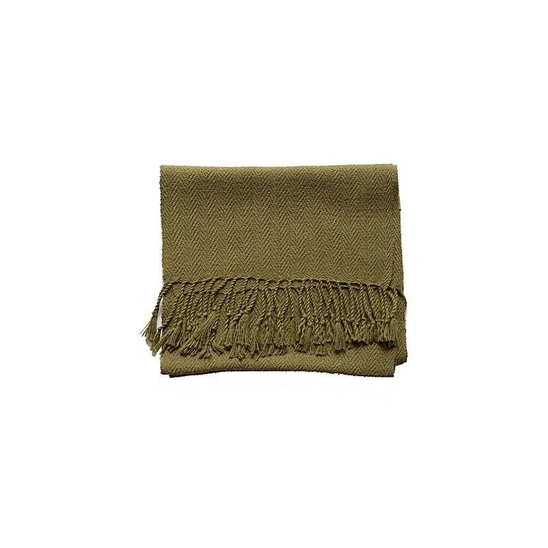 Echarpe artisanale simple fil 100% alpaga KAKI