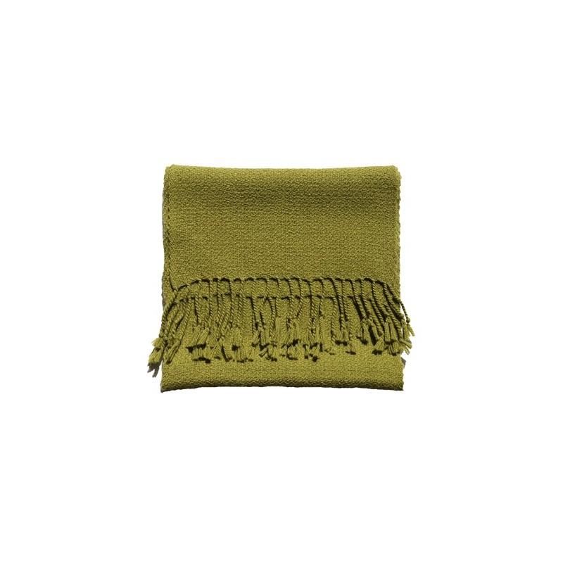 Echarpe artisanale simple fil 100% alpaga VERT OLIVE