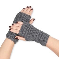Mitaines tricotées main baby alpaga GRIS