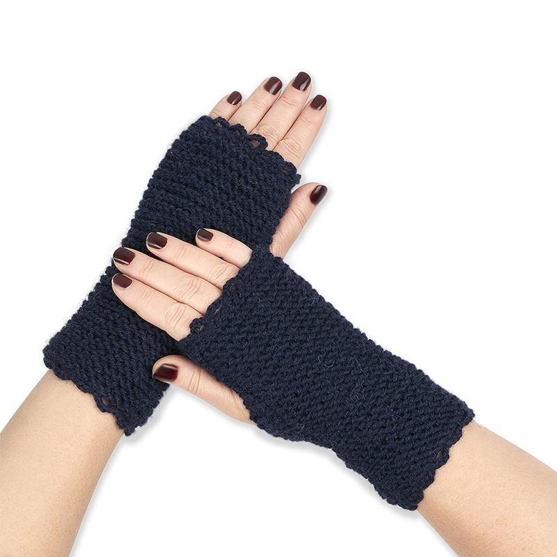 Mitaines tricotées main baby alpaga BLEU NUIT